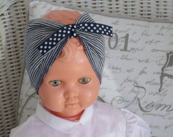 Designer headband for baby striped jersey and polka dots linen ' eva
