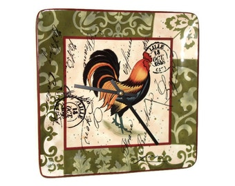 French Country Rooster Wall Clock - Olive Green Damask Rustic Rooster Clock - Cottage Chic Home Decor - Ceramic Plate Clock - 2043
