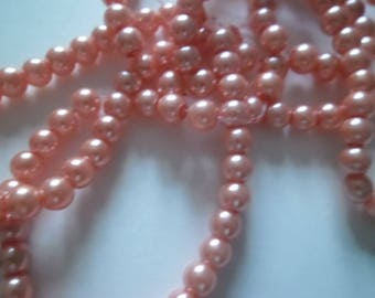 10 round 6 mm apricot orange glass pearl beads