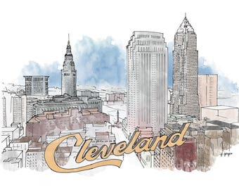 Cleveland Ink and Watercolor Drawing