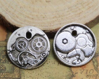 12pcs Clock Gears charms silver tone Round Watch Face Charm Pendants 25mm ASD0428