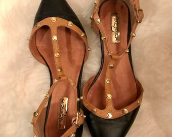 MOD Vintage HALOGEN Black Leather Pointy Toe T-Strap Studded Flats Sz. 6 1/2 US
