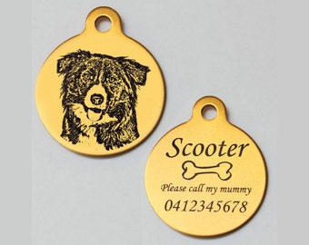 Border collie tag etsy border collie personalised engraved aluminium pet dog id tag 31mm round free slip ring sciox Choice Image