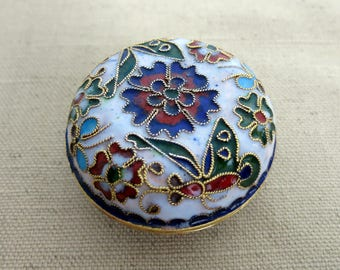 Cloisonne Chinese Trinket Box With Lid, Round Cloisonne Metal and Enamel Container, Cloisonne Trinket Box With Flowers and Butterflies -V228