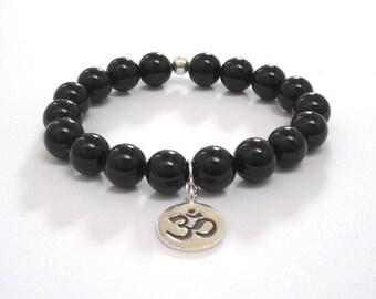 Women's, Mens Inspirational Jewelry, Mala Bracelet Obsidian Beaded Bracelet, Buddhist Worry Beads, Om Charm Bracelet, Zen Spiritual Recovery