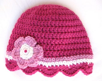 Pattern crochet baby hat shell edge newborn 3 months 6 months flower scallop pdf quick cerise pink girl bebe beanie double treble pretty