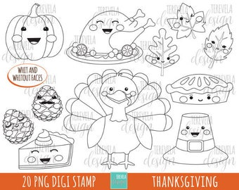 50% SALE THANKSGIVING stamp, commercial use, kawaii stamp, digi stamp, thanksgiving digi stamp, digital image, coloring page