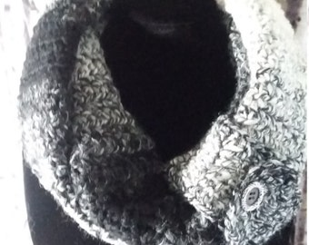 Infinity Scarf, Handmade Crochet, Blk/White, Gift for Her, Acrylic-Wool Blend, Warm & Stylish, Cowl, Infinity Scarf Button Tab-Ready to Ship