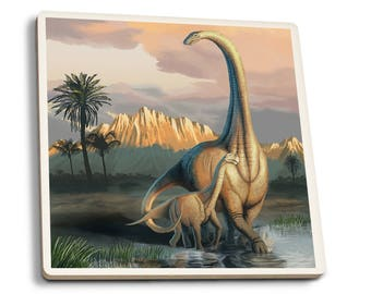 Apatosaurus Dinosaur - LP Artwork (Set of 4 Ceramic Coasters)