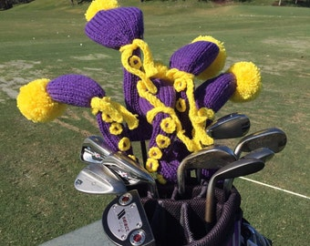 Golf club cover Pom Pom, Golf Club Covers, purple golf cover