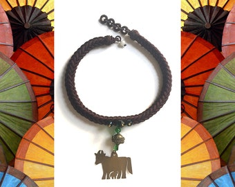Krishna Choker: Woven silk,  Indian brass, vintage glass. Necklace and earring set.