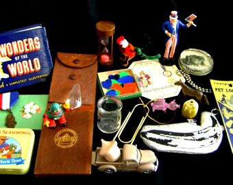 Vintage junk drawer contents - 22 pieces - cool stuff - something for everyone