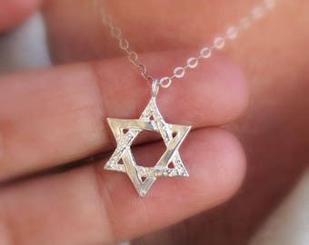 Star of David Necklace, Gold Filled Star of David Necklace, Sterling Silver Star of David Necklace, Jewish Star Necklace, Bat Mitzvah Gift.