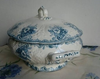 French Antique Tureen, Blue Transferware Terre de Fer Serving Dish, Vintage French Country