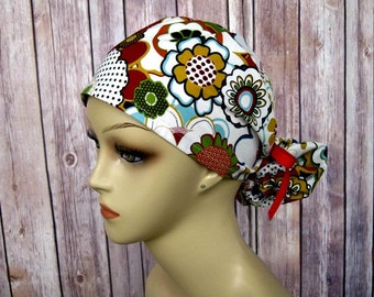 Ponytail Surgical Scrub Caps - Scrub Hat - Scrub Caps - Red Floral