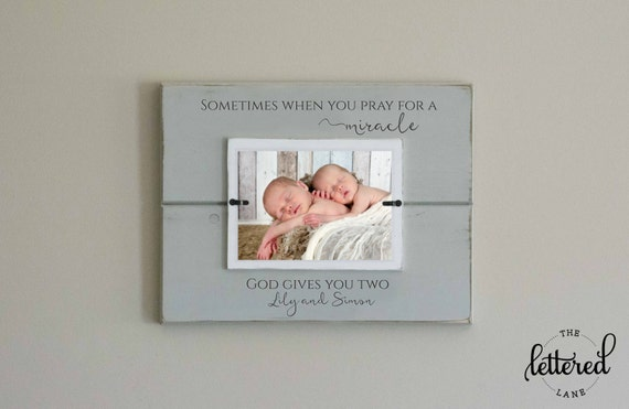 Twins Picture Frame, Twins Gift, Baby Shower Present, God gives you ...