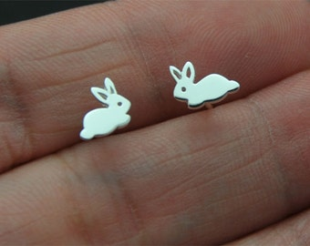925 Sterling Silver, bunny stud, rabbit Stud Earrings Ear Studs Sensitive Ears Minimalist Minimalism Minimal