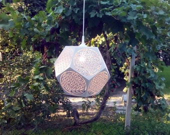 Wooden Dodecahedron Pendant Light with Flower of Life Powerful Sacred Geometry Symbol