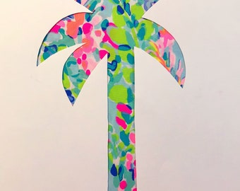 New custom Palm Tree Pillow made with Lilly Pulitzer Multi Catch the Wave Fabric