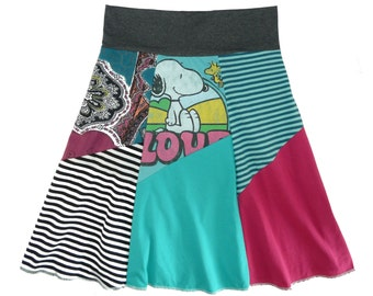 Snoopy and Woodstock Boho Chic Upcycled Hippie Skirt Women's Small Medium recycled t-shirt clothing from Twinkle