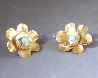 Gold Flower Earrings,  Hammered Brass Earrings, Amazonite Stone Jewelry, Sterling Silver Ear Wires, Shillyshallyjewelry, Handmade, braE10