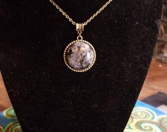 """18"""" Labradorite Tree Of Life cabochon necklace"""