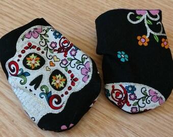 Sugar skull baby mittens