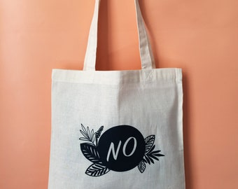 NO Screen Printed Canvas Tote Bag