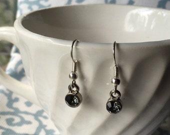 Black Glass Charm Earring Set