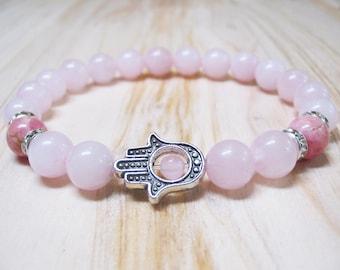 Hamsa Bracelet Rose Quartz Bracelet Rhodochrosite Bracelet Heart Chakra Bracelet Energy Bracelet Healing Bracelet Calming Bracelet Love