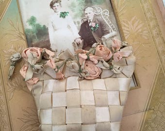 She Took Her Time Making This Antique Lace Work Ribbon Basket With Flowers