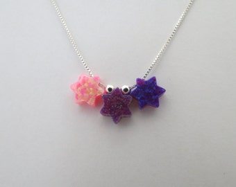 Violet, Purple, and Pink Opal Magen David and Sterling Silver Necklace