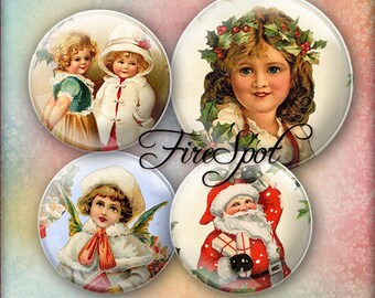 Christmas Girl Xmas Angel - Digital Collage Sheet 1.5 inch 1.25 inch 30 mm 1 inch 25 mm circle Instant Download Glass Pendants Scrapbooking