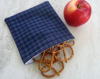 Reusable Snack bag Sandwich bag in blue Plaid for Guys Girls Men Women, gift under 15 Zero waste Boyfriend gift