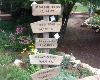 Rustic trail signs, peak signs, Colorado 14ers, weathered, patina, summit