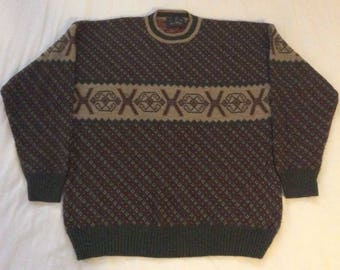 Vintage Mens Wool Alpaca Blend Ski Lodge Sweater Green Brown Red Rustic Italy