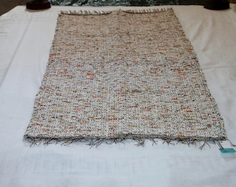 """Homemade Loom Woven Up Cycled Fall Colors of Material Rug 30"""" X 53"""""""
