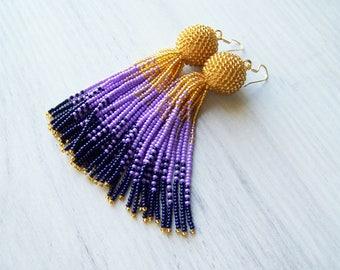 Tassel ombre earrings - Luxury beaded fringe earrings - long tassle earrings - Statement seed beads earrings - bridesmaid gifts earrings