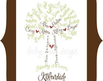 Custom family tree etsy custom family tree typography art 11x14 saigontimesfo