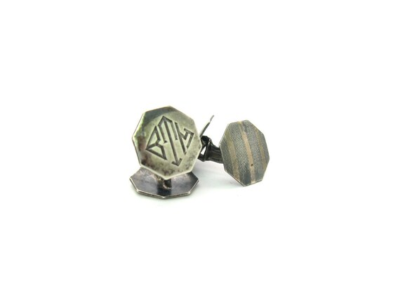 Sterling Silver Art Deco Men's Vintage 1920s Cuff Links