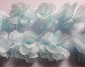 "1 yard 2.5"" Chiffon Flowers Lace Trim-Pale Blue CH014"