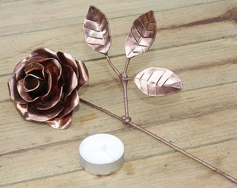 Handmade rose from copper