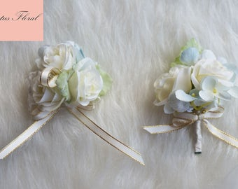 Groom Boutonniere, Groomsmen Boutonniere, Rose Boutonniere, White Boutonniere, Elegant Boutonniere, Simple Boutonniere