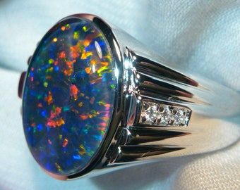 Mens Opal Ring Sterling Silver, Natural Opal Triplet. 16x12mm Oval . item 060539