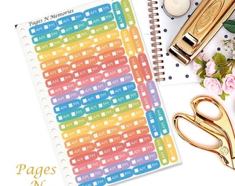 AM/PM Tracking Planner Stickers/ Erin Condren/ Plum Paper/ Inkwell Press/ Happy Planner/ Functional Stickers #037
