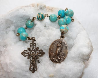 Stella Maris Catholic Pocket Rosary Chaplet-Solid Bronze-Blue Imperial Jasper Catholic Rosary-Our Lady Star of the Sea--Handmade-Ships Free