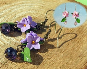 Lilac Earrings flowers Pink Earring Gift for daughter Lilac polymer clay flowers Lilac small flowers Purple earrings Wedding lilac earrings