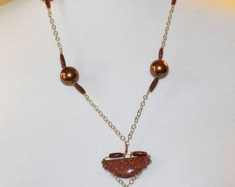Necklace Goldstone, Glass, & Gold-Fill
