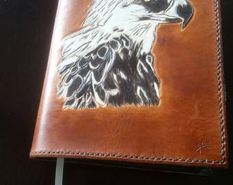 Leather Journal cover with eagle.  Includes hard cover journal.