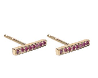 Chained bar post earrings- Ruby